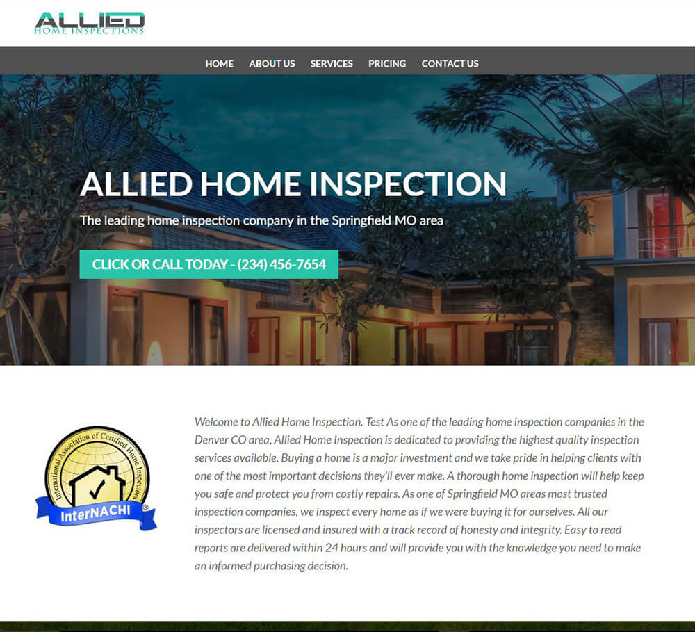 Home Inspection Website Templates And Home Inspection Web