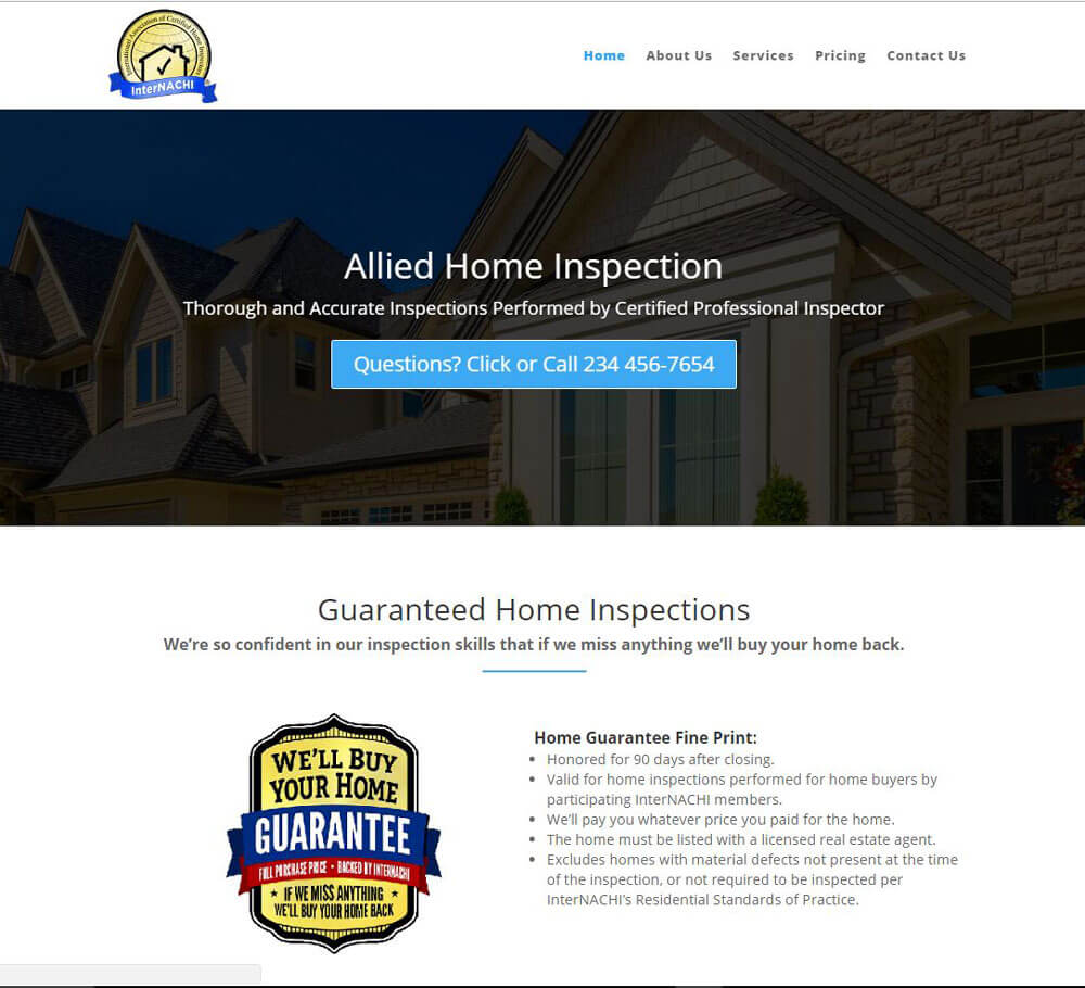 Home Inspection Website Templates 8