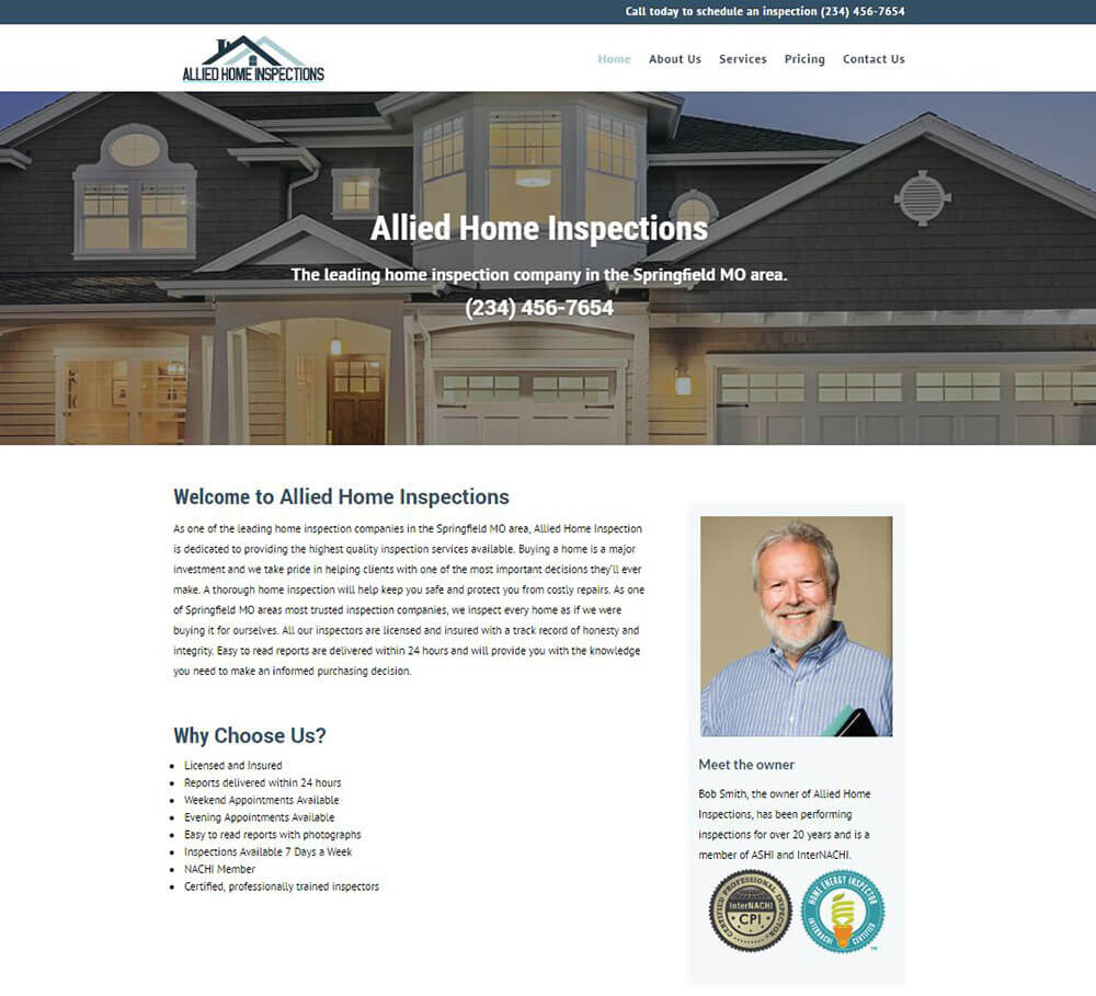 Home Inspection Website Templates 1