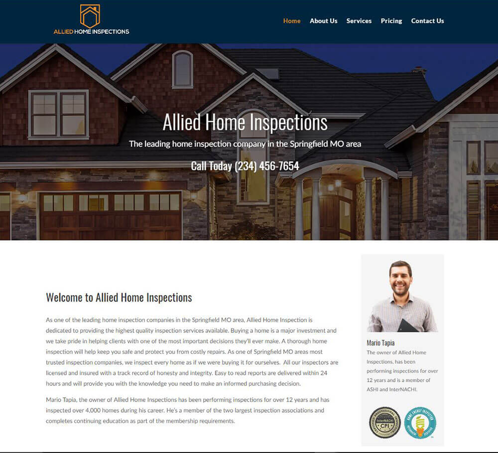 Home Inspection Website Templates 2