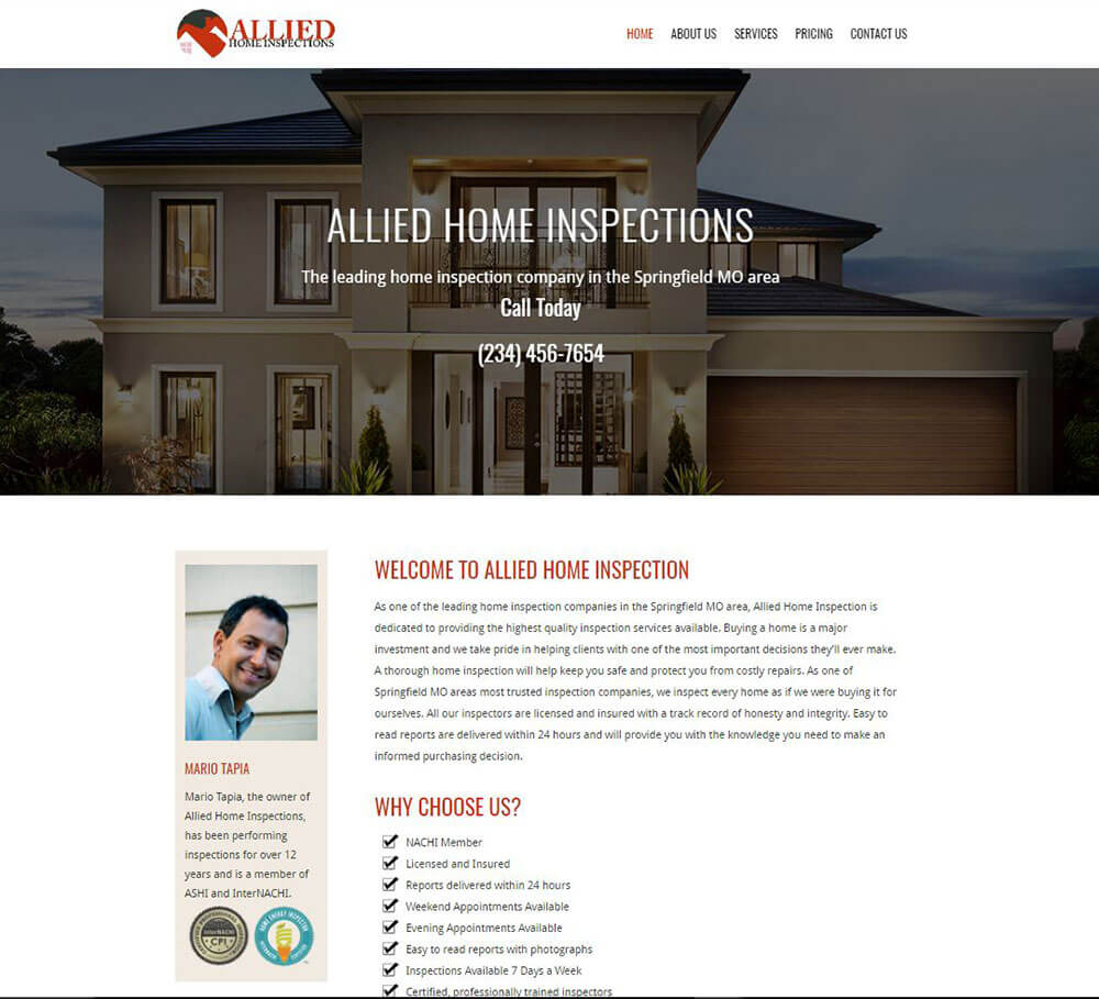Home Inspection Website Templates 3